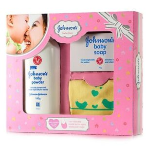 Johnson's baby Care Collection With Organic Cotton Bib - 3 Gift Items-0