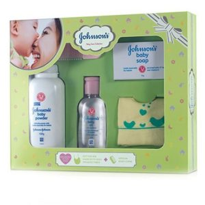 Johnson's baby Care Collection With Organic Cotton Bib -5 gift Items-0