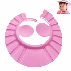 Baby Bath Shower Cap With Ear Shield - Pink-0