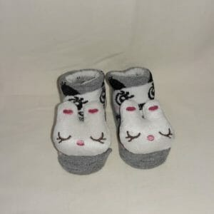 Baby Socks Grey with white Kitty-0